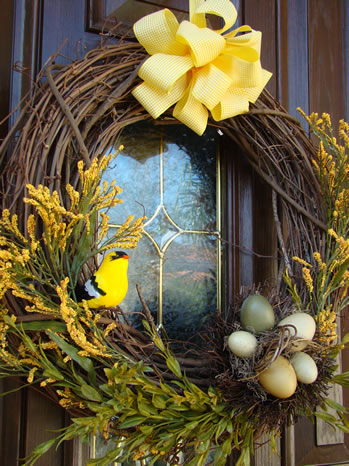 Bird and nest spring wreath - MattandShari.com