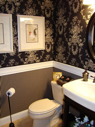 Bathroom with Fabric Starched to the Walls - MattandShari.com