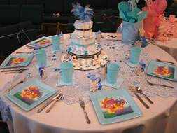 The Take Home Gifts At This Table Were Baby Bottles Filled With Candy. But  The Real Gem Was The U201ccakeu201d Centerpiece. It Was Made Out Of Tiny Infant  Diapers ...