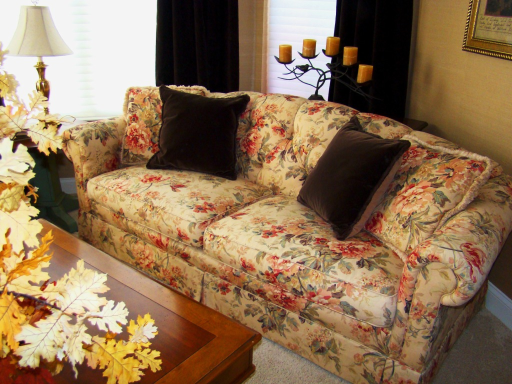 A Floral Sofa Adds Interest