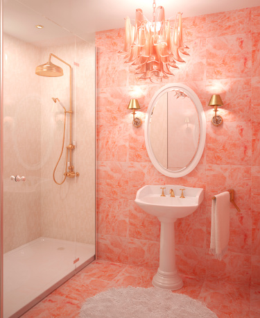 The color orange works best in small amounts matt and shari Peach bathroom