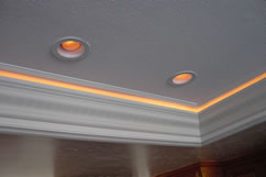 Installing Rope Lighting Behind Cove Molding Below A Ceiling Is Also Por Use Of These Accent Lights This Type Installation Especially Effective